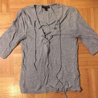 Topshop Lace Up Quarter Length Sleeve Top