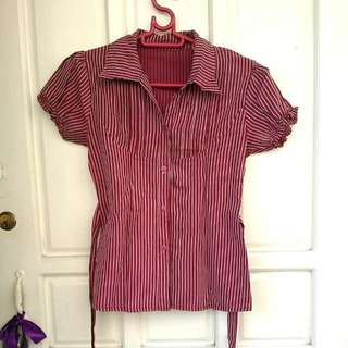 Striped Maroon Blouse