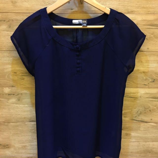 10&Co Bangkok Sheer Navy Blue Blouse