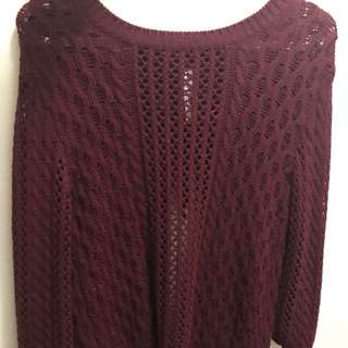 Bethany Mota Maroon Knit Sweater