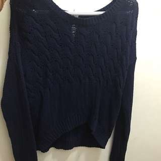 Navy Blue Cropped Knit Sweater