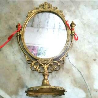 Vintage Brass Standing Mirror