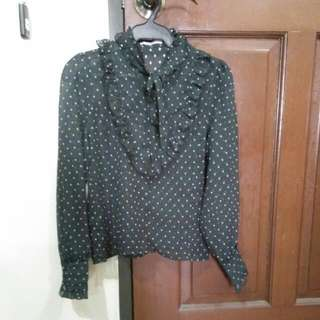 Black Polka Puff Longsleeves Top