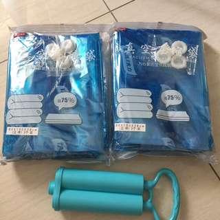 壓縮袋 立體 6個 + 雙筒抽氣泵