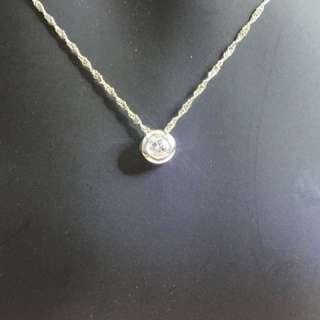 18k 白金天然鑽石項鍊