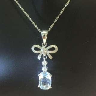18k 白金天然鑽石+海藍寶石項鏈