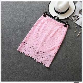 粉色花花 蕾絲裙/半身裙
