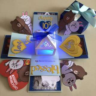 Brown And Cony 3 Layers Explosion Box With Lighthouse & 8 Personalized Photos In Blue & Gold