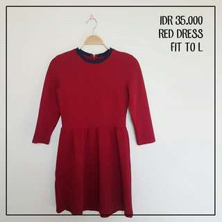 Red Dress Fit To L