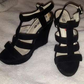 Sandal Style Black Platforms Suedette