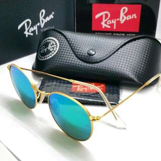 48f85e90f0 Authentic Rayban Sunglass + Original Case N Cloth Ray Ban RB3447 Green Blue Mirror  Coat Reflective