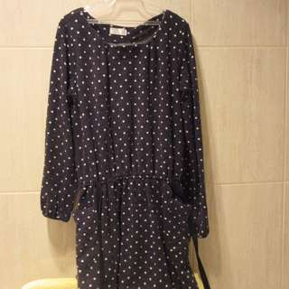 Black & White Wool Polka Dot Dress