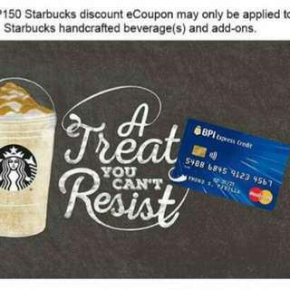 Starbucks E-Coupon worth P150 for only P70 each