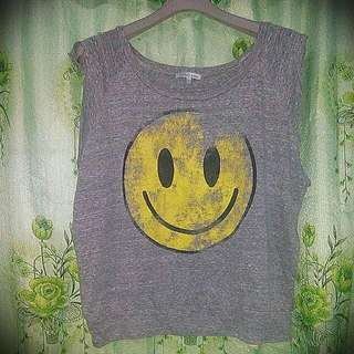 Charlotte Russe smiley gray top