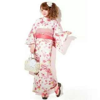 🚚 【代售】日本GRL夏季浴衣蝴蝶櫻花粉三件套