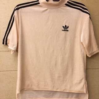 Adidas天鵝絨上衣#粉膚色