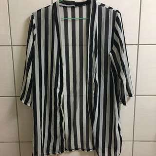 條紋雪紡七分罩衫