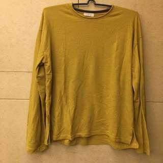 芥末黃寬長袖上衣