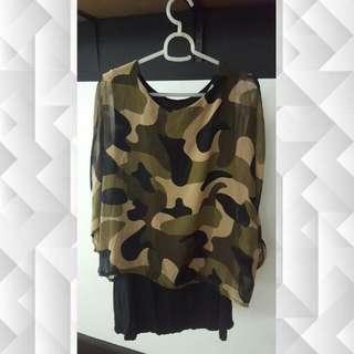 Camoflage Dress with Chiffon Top