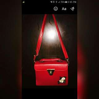Sling Red Bag With Patches Floral