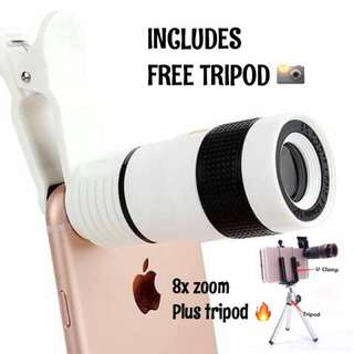 FREE TRIPOD PROFESSIONAL 8x OPTICAL ZOOM MOBILE CAMERA LENS for iPhone Samsung and almost all smartphones