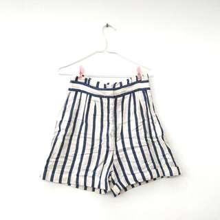 Zara 間條高腰短褲 Striped white and blue shorts