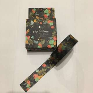 Washi Tape - Indigo Floral Design, 15mm x 7