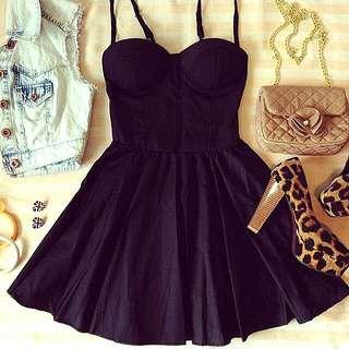 SUMMER BUSTIER FLARE DRESS BLACK BANGKOK