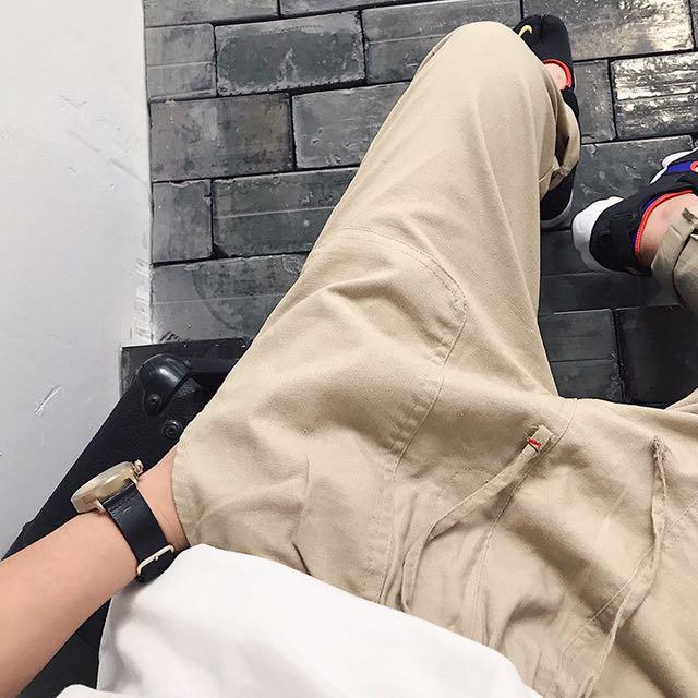 三色大口袋棉麻休閒褲