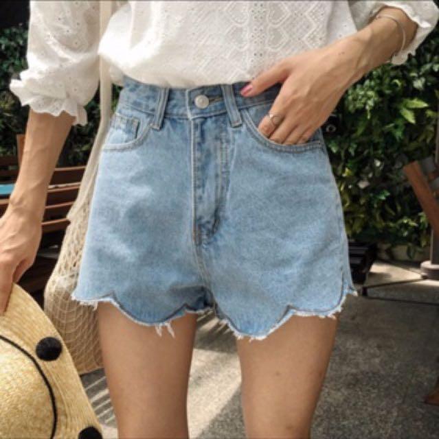 韓系波浪高腰顯瘦牛仔短褲