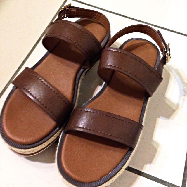 百搭 皮質 金屬釦環 麻編 厚底 涼鞋