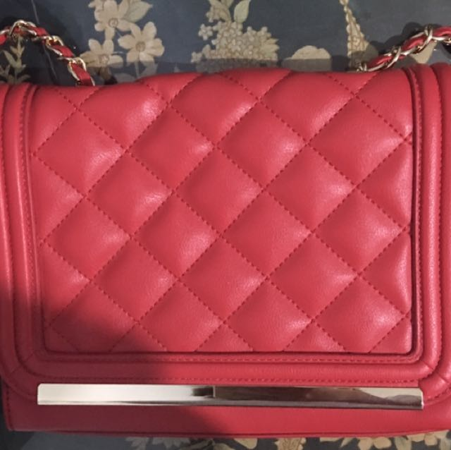 Aldo Red bag with gold & red sling Authentic