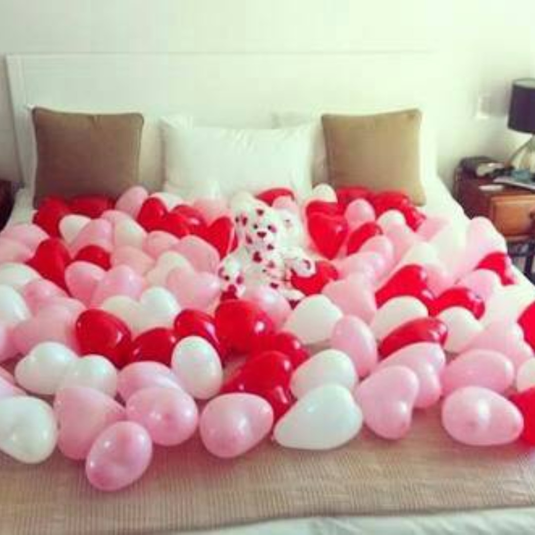 balon latex karet bentuk hati / love doff polos merah pink