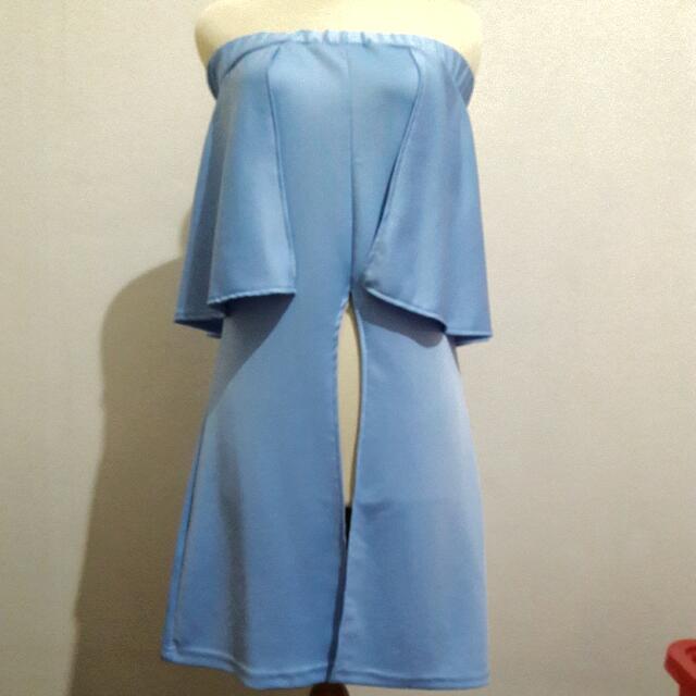 Blue Off Shoulder Slit Dress