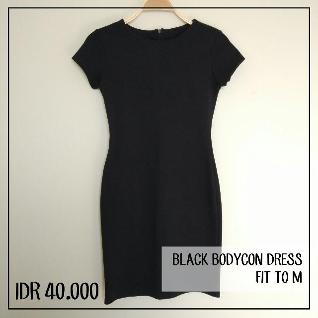 Bodycon Black Dress Fit To M