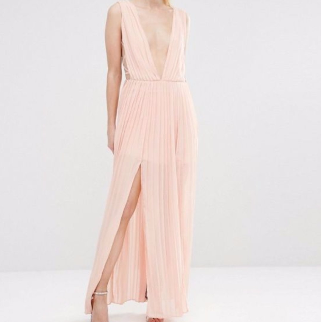 Boohoo pleated plunge maxi dress uk size 6