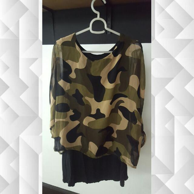 Camoflage Dress with Chiffon Top