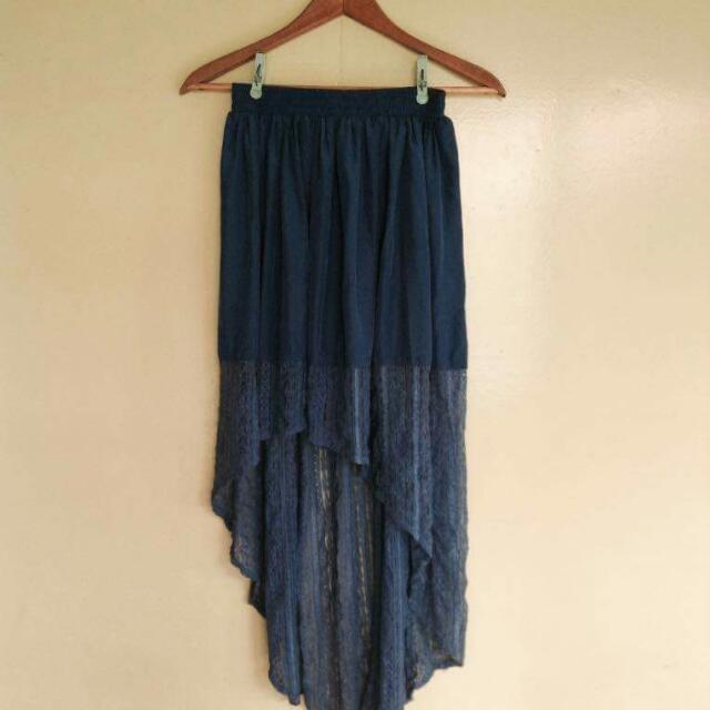 Casual Long Back Skirt(blue)