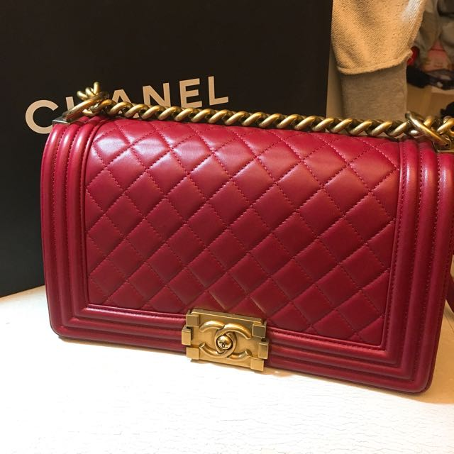 Chanel 天菜boy 25 紅色復古金鏈
