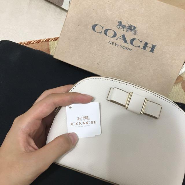 美國COACH包包/化妝包 白