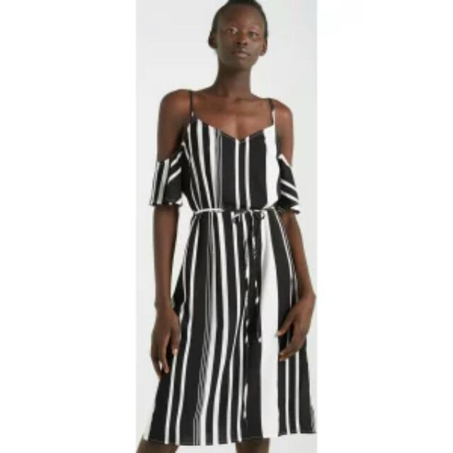 Cotton On Black And White Stripe Dress - Size M