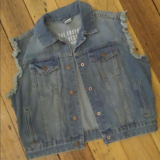 Cotton On Cropped Denim Vest - Size 10