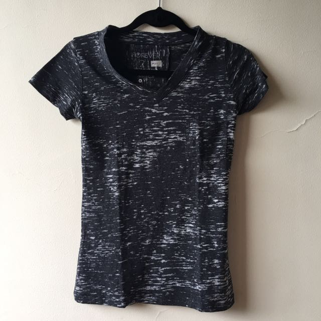 Forever21 Distressed V-Neck Tee