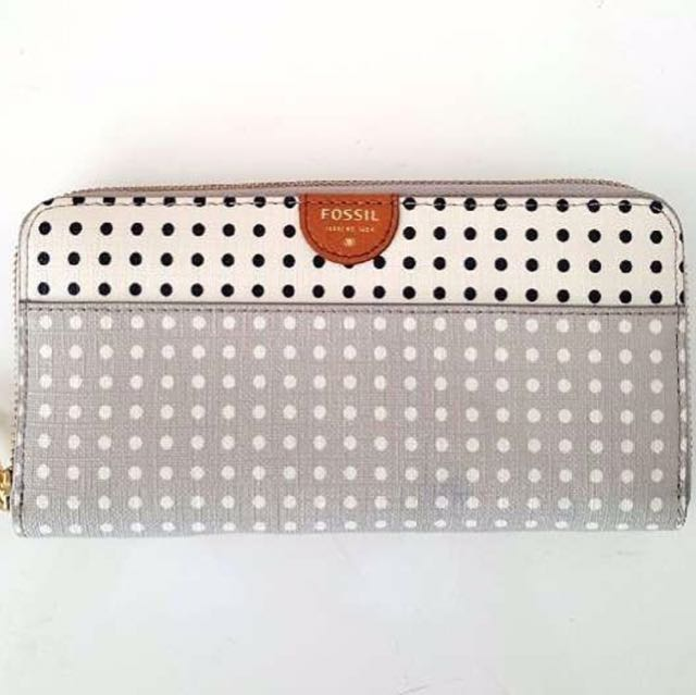Fossil Sydney Zip Clutch Grey/White Wallet