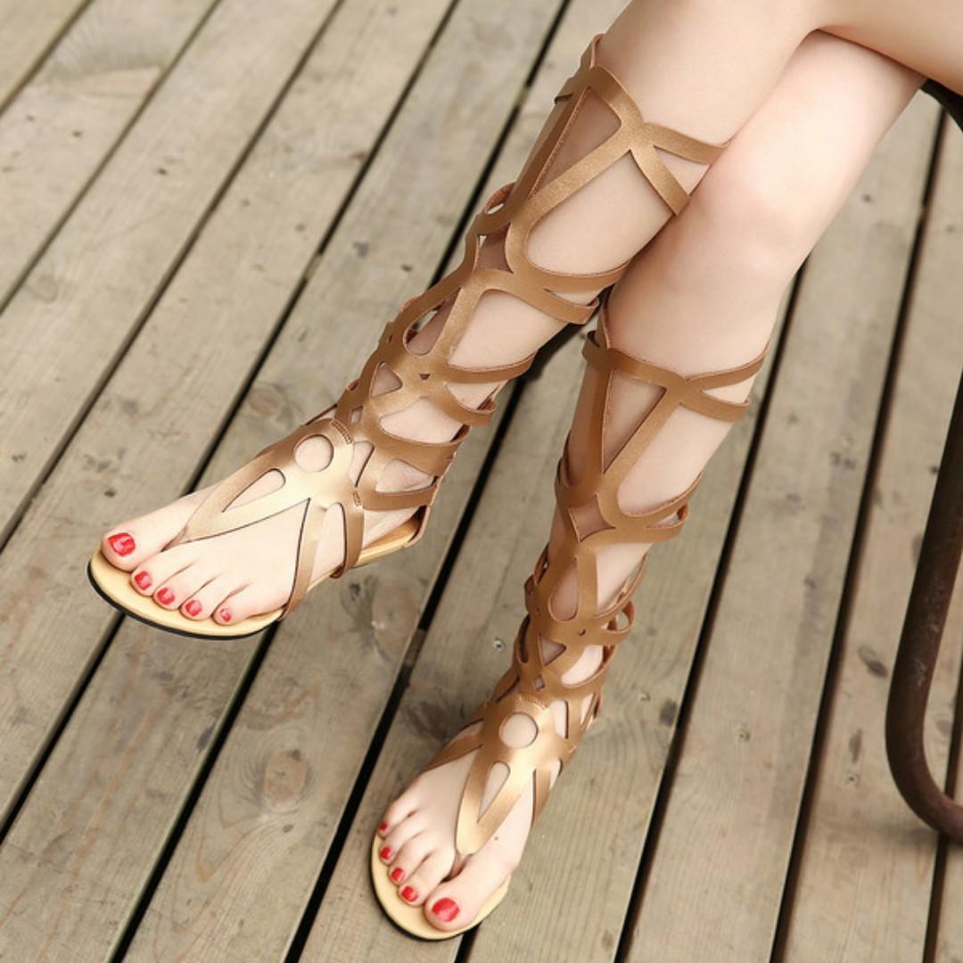 70c0d3afb Gold Black Gladiator Sandals Women shoes
