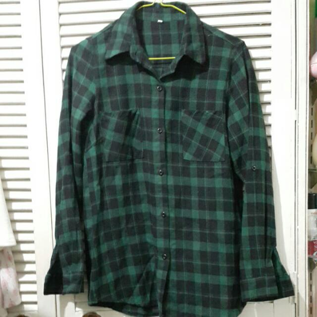 Green Plaid Button Down With Button Tab Sleeve