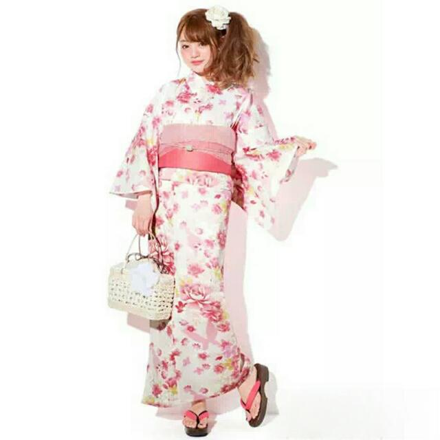 【代售】日本GRL夏季浴衣蝴蝶櫻花粉三件套