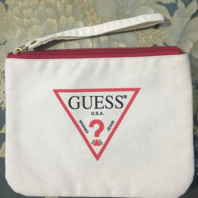 Guess Canvas Pouch White Authentic