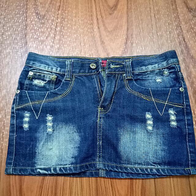 [JINMOSS] Denim Mini Skirt