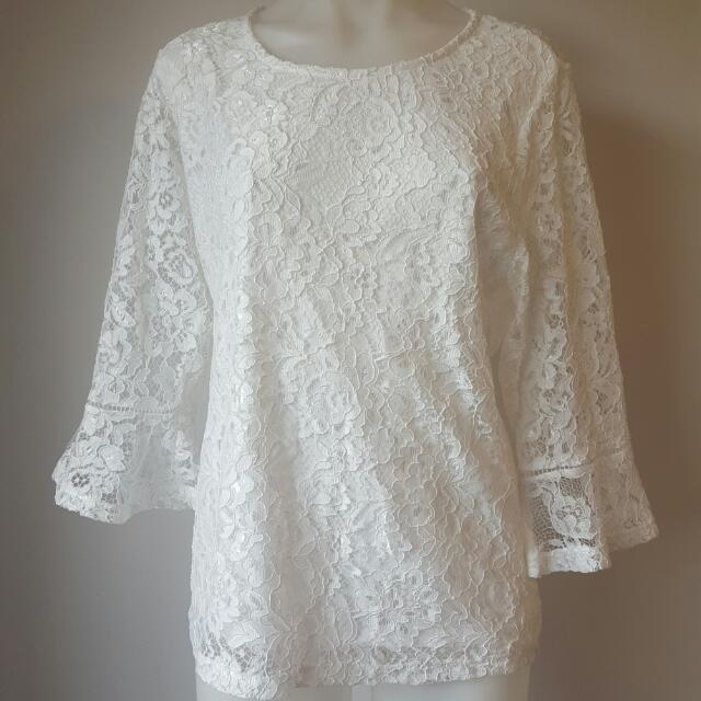 Lace Top With Flute Sleeves